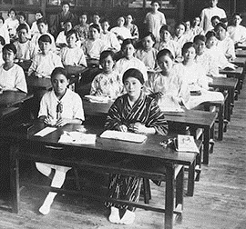 Female students in class